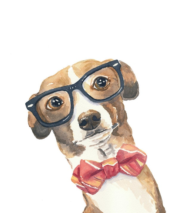 Dog Watercolour PRINT Italian Greyhound Nerd Glasses 8x10