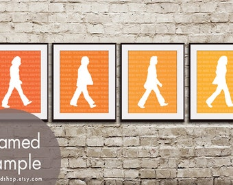 Abbey Road -Beatles Inspired Set of 4 - Art Prints (Featured in Shades of Crimson Orange) Vintage Modern Art Prints
