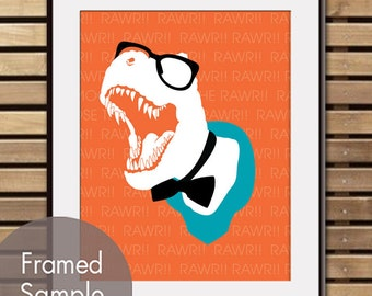 RAWR (T-REX with Glasses and Bowtie) Art Print (Featured in Crimson Orange and Oceanic Blue) Buy 3 Get One Free