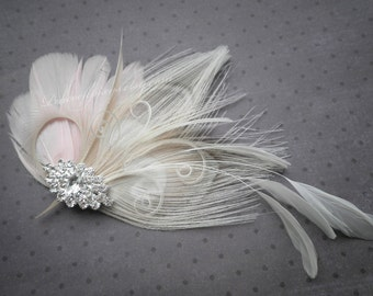 Ivory, Pink, Weddings, hair, Accessories, Feather, Fascinator, bride, clips, Peacock, Bridal , accessory - PRINCESS ME PINK
