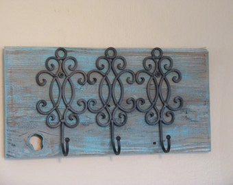 Rack, Coat Rack, Turquoise, Scroll Metal Hooks