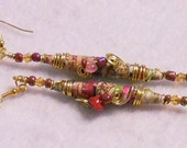 Long Wire Wrapped Earrings with Spiral accents.