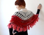 RESERVED bohemian womens poncho / cape, fringed  - lacy clothing - off-white, coral, pomegranate, red -  freeform crochet - wool, silk