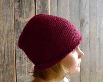 Red Wool Hat, Crochet Earflap Hat, Slouchy Beanie, Aviator, Cloche, Winter Accessories - Oxblood, Adult Women Headwear