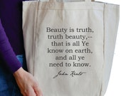 beauty is truth John Keats tote bag