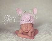 Baby Girl Pig Hat, Photo prop size newborn