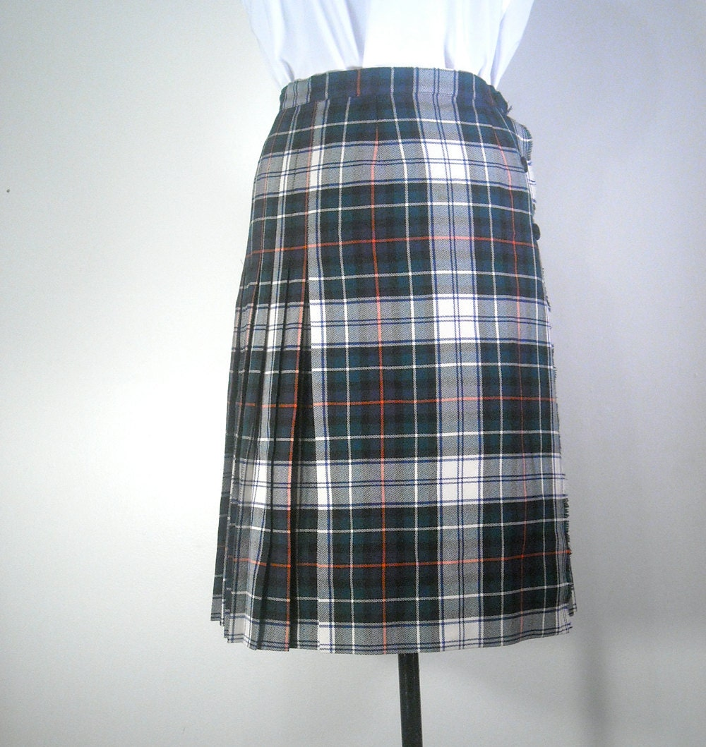 vintage plaid a line skirt 1970s wrap front by boltedvintage