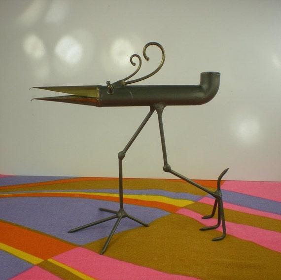 Gino Bushini Metal Bird Candle Holder Mid