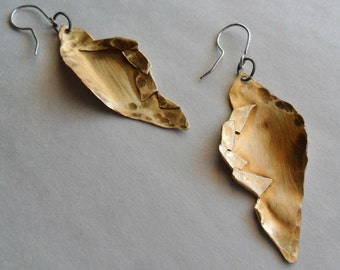 Hammered and Folded Brass Earrings