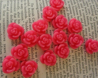 Hot Pink Resin Flower Cabochon 15mm