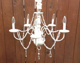 Reserved listing for Tracy ..Shabby Chic White Chandelier Ceiling Light With Crystal Prisms