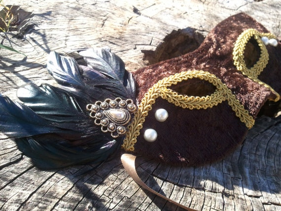 Brown Velvet Harlequin Mask with Iridescent Feathers and Pearl Accents
