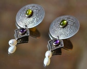 EXOTIC Coin Upcycled: Old Coin & Gemstone 'n Pearl Earring/ Pin Set- Demi Parure, Amethyst, Peridot, Citrine,