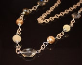 Long Silk wrapped Chain Necklace with Crystal Accents