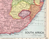 1930s SOUTH AFRICA map with Orange Free State, Transvaal, Rhodesia, antique school map