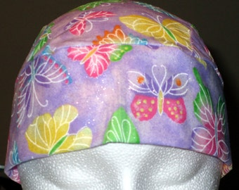 Purple Skull Cap with Pastel Butterflies, Chemo Cap, Hats,Do Rag, Head Wrap, Biker, Motorcycle, Hair loss, Alopecia, surgical cap, Handmade