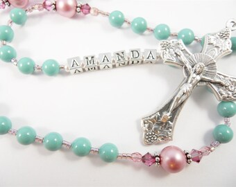 Turquoise and Pink Swarovski Pearl Catholic Personalized Rosary - Baptism, First Communion - Girl Rosary