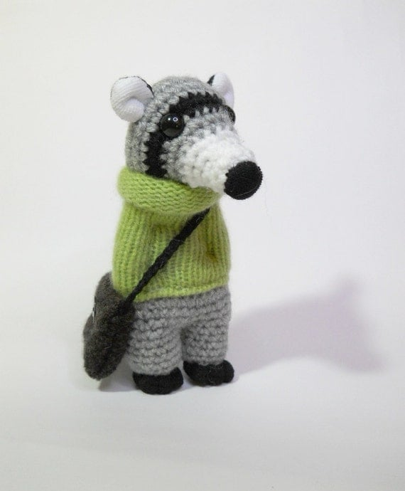Amigurumi To Go Raccoon : Amigurumi raccoon crocheted animal kawaii soft sculpture doll