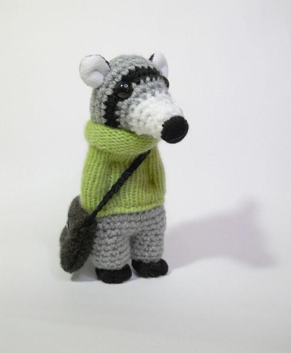 Amigurumi raccoon crocheted animal kawaii soft sculpture doll