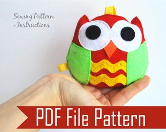 Felt Owl Pattern, Ornament, Rattle Baby Toy,  Pdf Sewing Pattern , Kids Craft Project, Instant Download, A669