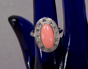 1974 Vintage Avon Silver, Pink Quartz and Rhinestone Ring, Cubic zirconia, Pale Fire ring, Oval, Dinner ring, Collectible rings
