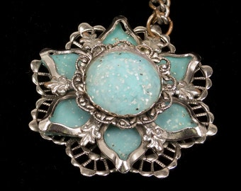 Vintage Mid Century Plastic with silver glitter Necklace Flower shaped Silvertone and Turquoise