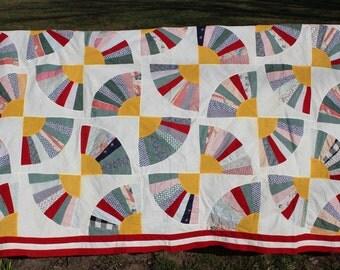 Sale Vintage Quilt Top -  Fan  Design- Finish -Repurpose-Upcyle-Recreate