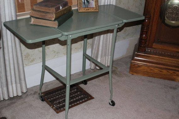 Vintage Metal Industrail Table Folding Sides Old By
