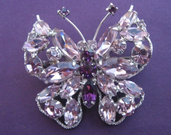 Vintage Butterfly Purple And Lavender Rhinestone Brooch Signed Regency
