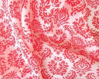 chanderi fabric - neon red damask print on off white - 1 yard - msc108
