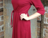 1960s Red Dress/ Scoop Neckline/ Pleated Skirt/ Little Red Dress