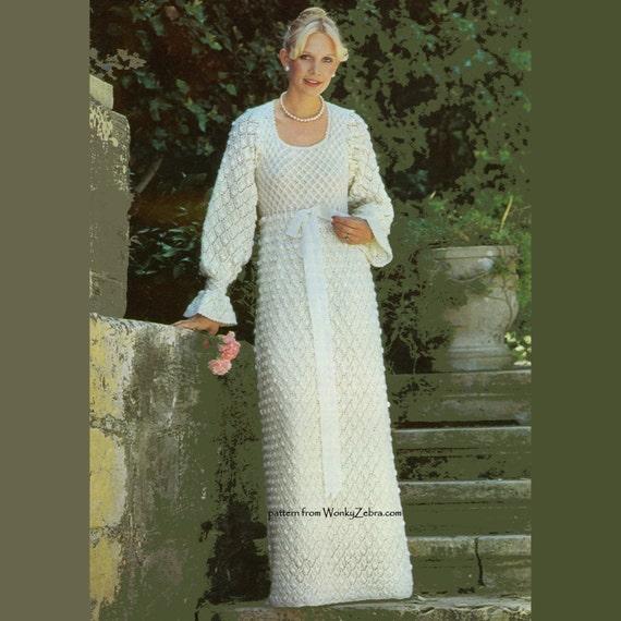 Items similar to Vintage Knit Pattern 188 PDF Wedding Dress from WonkyZebra o...