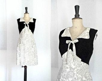 Black and Beige Wiggle Dress Vintage 1960