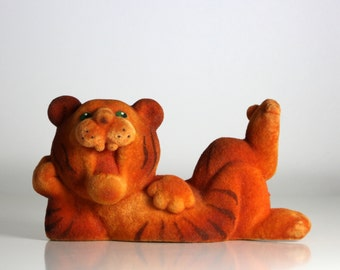 Vintage flocked toy TIGER from Soviet Union 70s