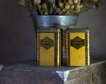 Beautiful tin canisters from Soviet Union, 50s, set of two, for manna and groats