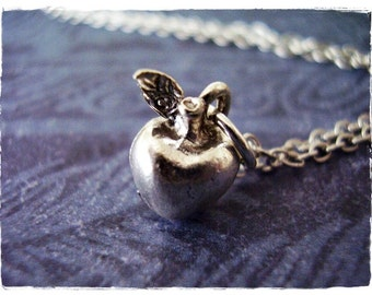 Tiny Silver Apple Necklace - Silver Pewter Apple Charm on a Delicate Silver Plated Cable Chain or Charm Only