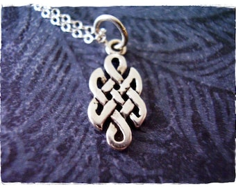 Tiny Celtic Knot Necklace - Sterling Silver Celtic Knot Charm on a Delicate Sterling Silver Cable Chain or Charm Only
