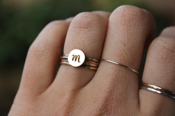ROSE Gold Initial rings, Rose Gold letter rings, pink rose gold alphabet ring, stacking, YOU PICK initial, customize your style
