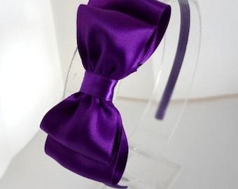 Purple Satin Hair Bow Headband - Layered Bow - Girls Hair Accessories - Teen Headband - Satin Hair Bow - Adult Hair Accessories