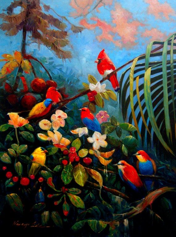 Large Colorful Tropical Birds Original Oil Painting 30x40 On
