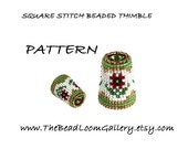 Beaded Thimble with Swarovski Rivoli Top - Delica Beads PDF PATTERN - Square Stitch - Vol.16 - Red Poppy Thimble