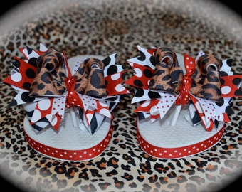Custom Boutique Girls Ribbon Bows Safari m2m Minnie Mouse Leopard Zebra Disney Vacation Flip Flops