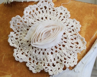 Very cute  crochet applique with chiffon   flower