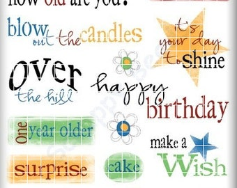 Birthday Rub-ons Scrapbooking Crafts Cards SBC