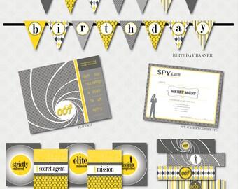 Spy Birthday Printable Party - Custom Package