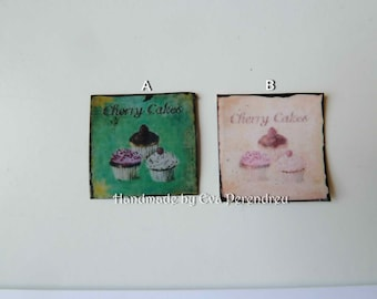 Miniature cupcakes tin sign for dollhouse,