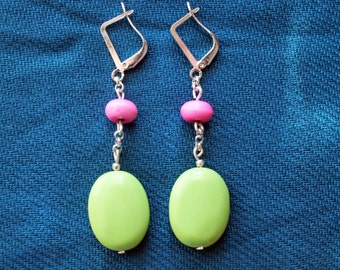 TURQUOISE earrings stone silver plated boho neon green pink for her delicate minimalist dangle drop french hook bright beach valentines