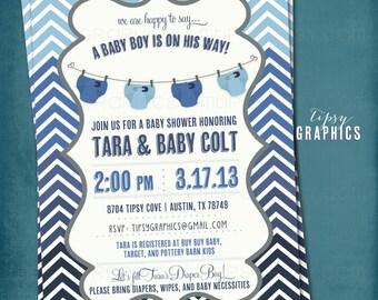 Ombré Stock the Diaper Bag. Corloful Chevron Diaper Baby Shower Invite by Tipsy Graphics.