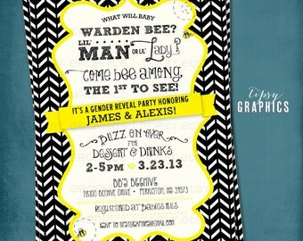 What will it BEE. Chevron Gender Reveal Bee Baby Shower Invite. By Tipsy Graphics