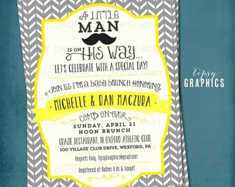 Little Man on the Way. Mustache Chevron Baby Shower or Birthday Party Invitation by Tipsy Graphics. Any colors